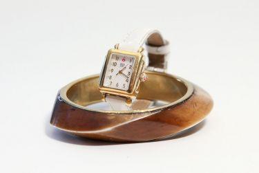 Michele Watch and Wood Cuff Bracelet. Jan. 3, 2013