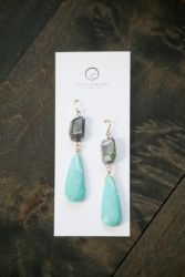 Turquoise and black diamond labradorite earrings by Cindy Borders. Dec. 4, 2015
